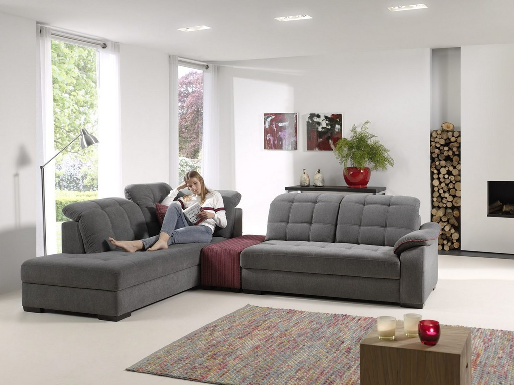 Canapé d angle modulable TANARO - Têtières relevable à cliquer ad92610ed338