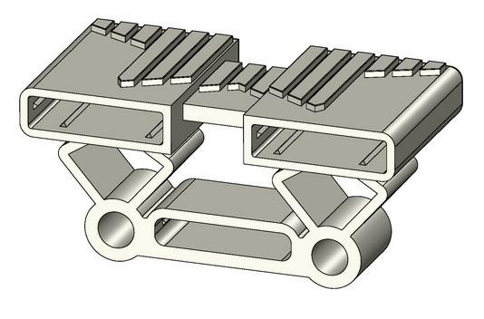 sbs0600 embout articul pour latte double 2x38 mm fixer sur tenons. Black Bedroom Furniture Sets. Home Design Ideas