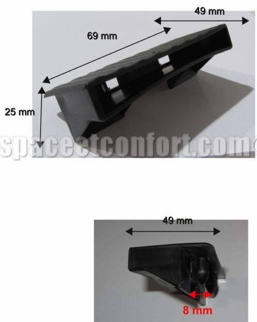 Embouts pour latte de 63 mm FLATCAP R.O - 2 tenons à clipper