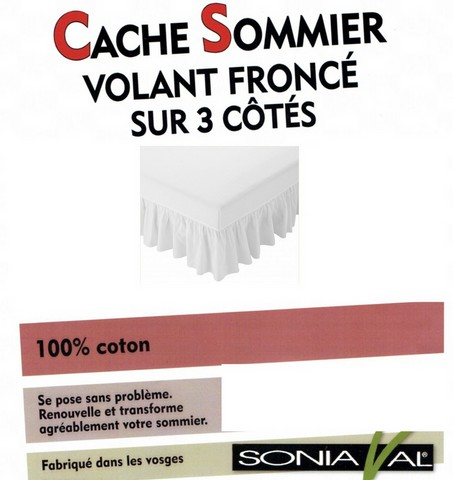 cache sommier volant fronc 100 coton cru c dric. Black Bedroom Furniture Sets. Home Design Ideas